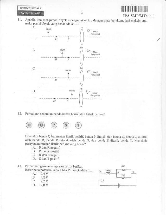 Naskah Soal Ujian Nasional Ipa Smp Tahun 2013 Paket 19