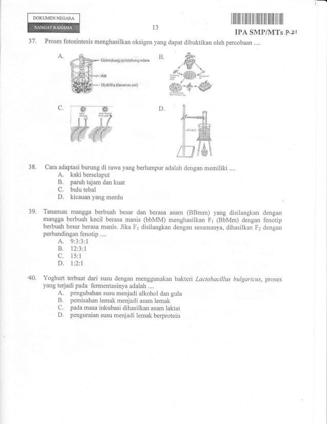 Naskah Soal Ujian Nasional Ipa Smp Tahun 2013 Paket 21