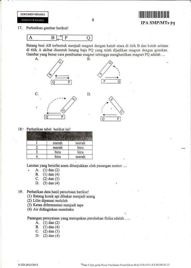 Naskah Ujian Nasional IPA SMP Tahun 2013 paket-09