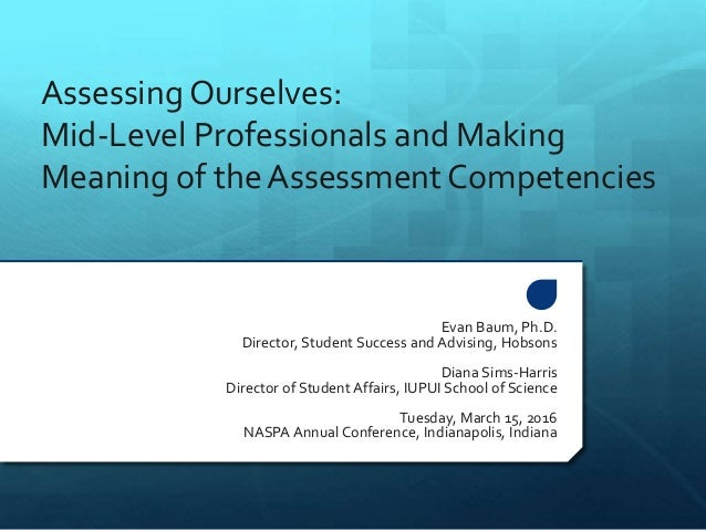Assessing Ourselves: Mid-Level Professionals and Making Meaning of the Assessment Competencies Evan Baum, Ph.D. Director, ...