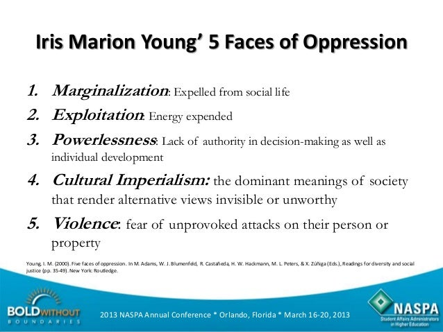 five faces of oppression Marion young and five faces of oppression the word oppression still exists in the everyday lives of women but has changed its tyrannical implications, meaning there is no dictator to influence or force negative actions toward women gender.