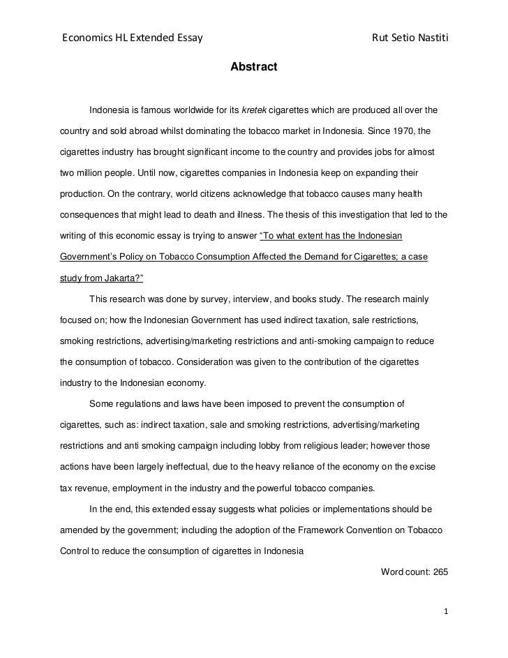 extended essay for economics An ib extended essay on market structure of what is the market structure of the dried seafood market what is the market structure of the dried fish.