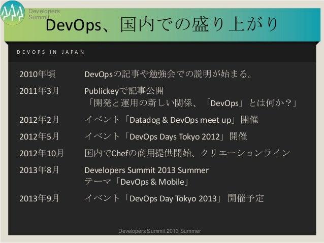 夏サミ2013 基調講演 「DevOpsは開発現場とビジネスの間に何を生むか?」(新野淳一氏) Slide 3