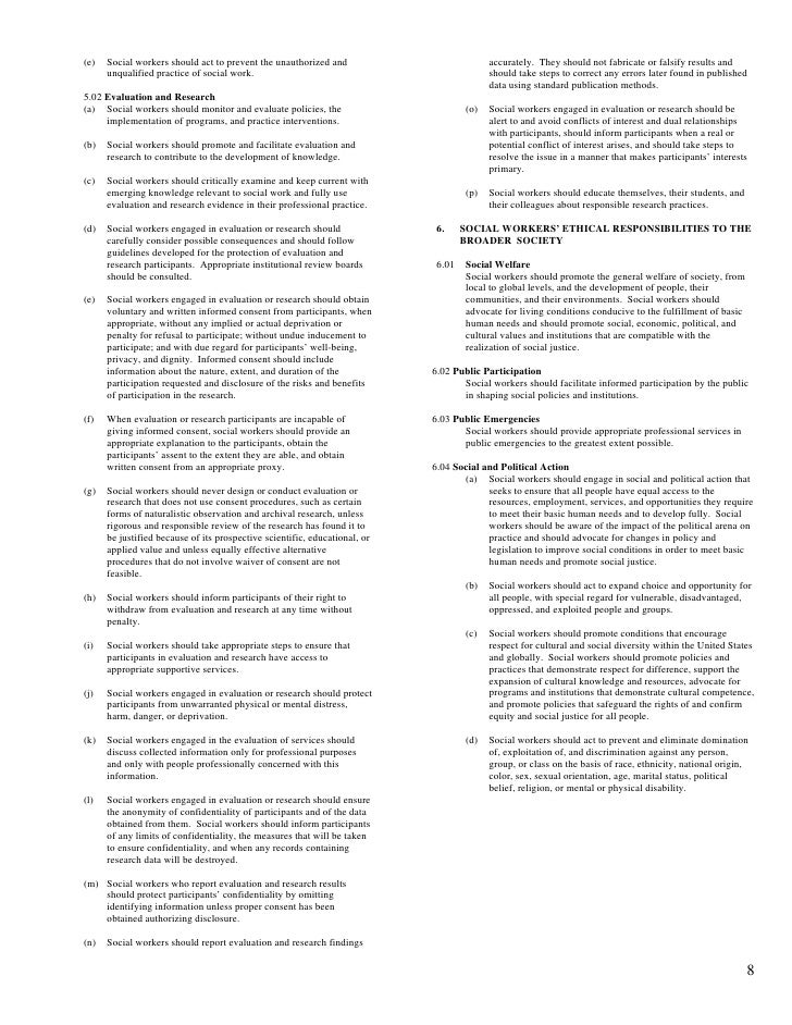 social work code of ethics essay The nasw code of ethics maybe considered the most ambitious set of ethical guidelines in social work history ethical issues have always been a concern of the.