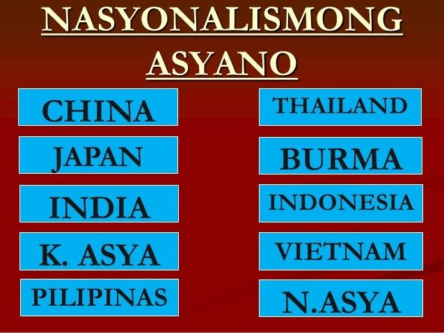 NASYONALISMONG    ASYANOCHINA       THAILAND JAPAN      BURMAINDIA       INDONESIAK. ASYA     VIETNAMPILIPINAS   N.ASYA