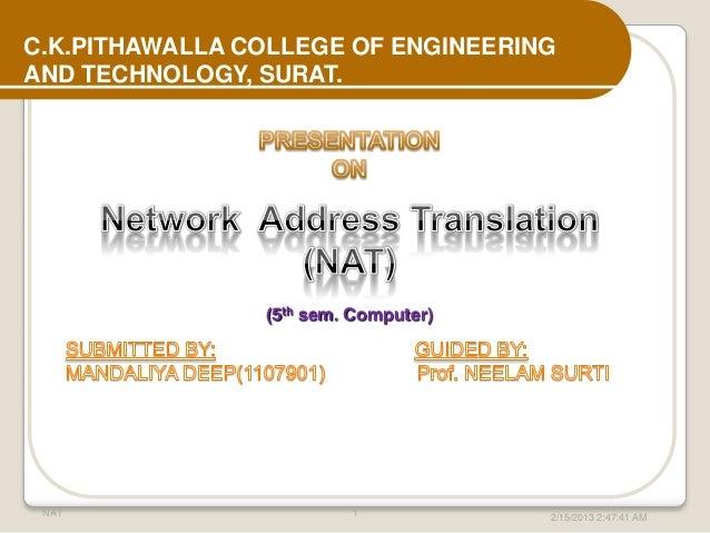 C.K.PITHAWALLA COLLEGE OF ENGINEERINGAND TECHNOLOGY, SURAT.                (5th sem. Computer) NAT                     1  ...