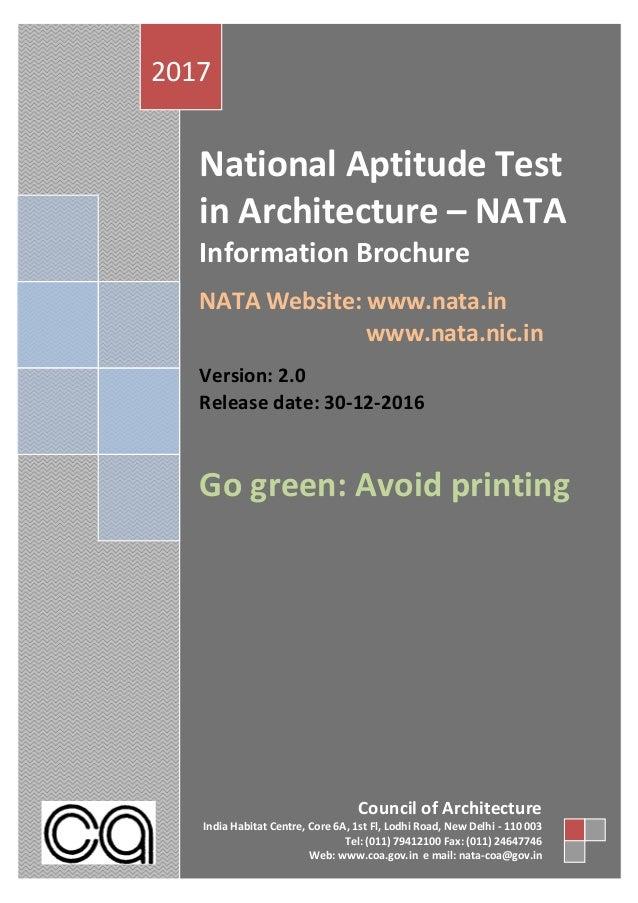 National Aptitude Test in Architecture – NATA Information Brochure NATA Website: www.nata.in www.nata.nic.in Version: 2.0 ...
