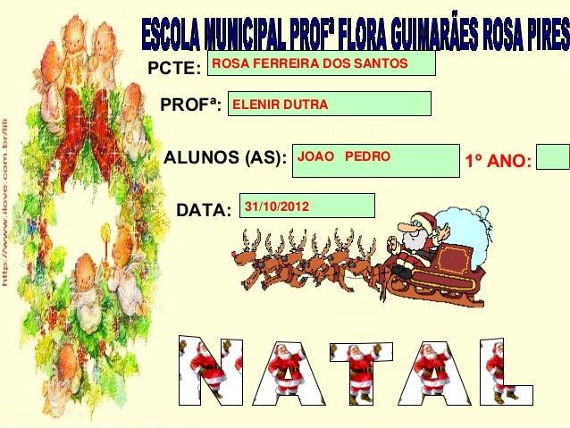 PCTE:   ROSA FERREIRA DOS SANTOS PROFª:   ELENIR DUTRA ALUNOS (AS):      JOAO PEDRO                                   1º A...