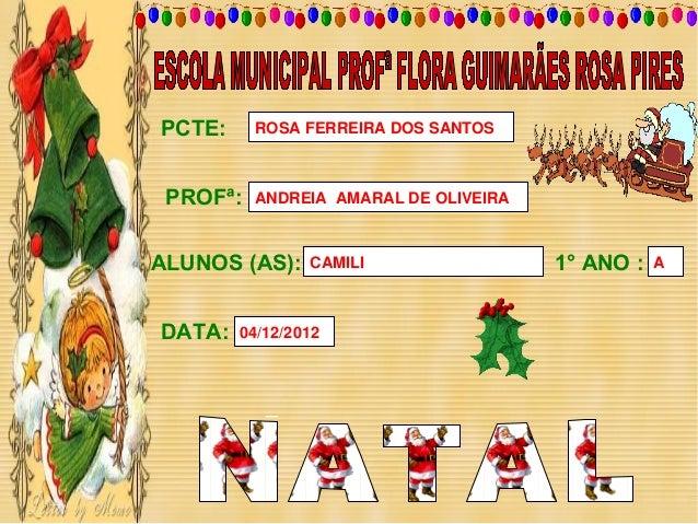 PCTE:     ROSA FERREIRA DOS SANTOS PROFª:   ANDREIA AMARAL DE OLIVEIRAALUNOS (AS):    CAMILI                 1° ANO :   AD...