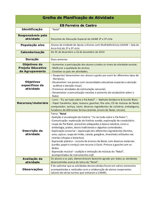 """Grelha de Planificação de Atividade EB Ferreira de Castro Identificação """"Natal"""" Responsáveis pela atividade Docentes de Ed..."""