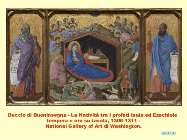 Duccio di Buoninsegna - La Natività tra i profeti Isaia ed Ezechiele  tempera e oro su tavola, 1308-1311 -  National Galle...