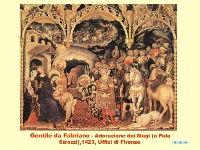 Gentile da Fabriano - Adorazione dei Magi (o Pala  Strozzi),1423, Uffizi di Firenze.