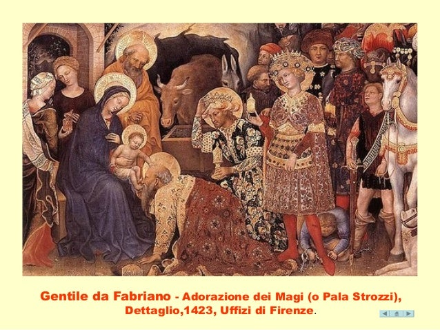 Gentile da Fabriano - Adorazione dei Magi (o Pala Strozzi),  Dettaglio,1423, Uffizi di Firenze.