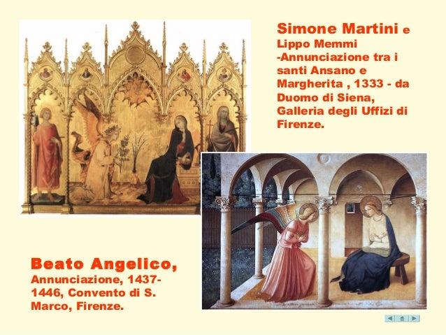 Simone Martini e  Lippo Memmi  -Annunciazione tra i  santi Ansano e  Margherita , 1333 - da  Duomo di Siena,  Galleria deg...
