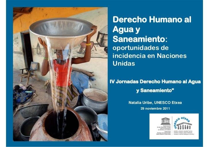 Derecho Humano al Agua y Saneamiento: oportunidades de incidencia en Naciones UnidasIV Jornadas Derecho Humano al Agua    ...