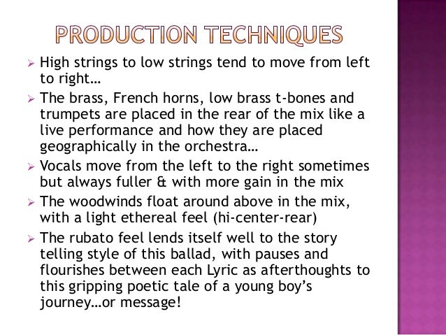  High strings to low strings tend to move from leftto right… The brass, French horns, low brass t-bones andtrumpets are ...