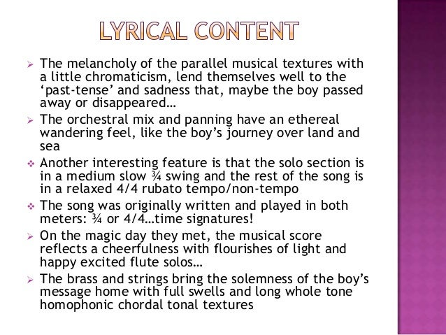 """ The melancholy of the parallel musical textures witha little chromaticism, lend themselves well to the""""past-tense"""" and s..."""