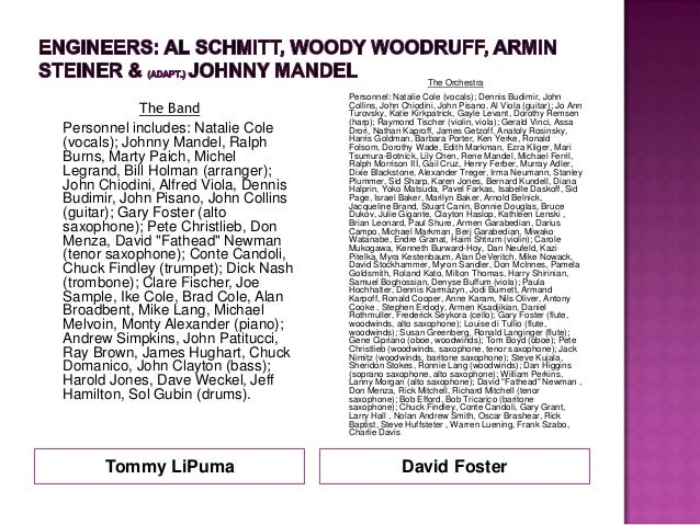 Tommy LiPuma David FosterThe BandPersonnel includes: Natalie Cole(vocals); Johnny Mandel, RalphBurns, Marty Paich, MichelL...