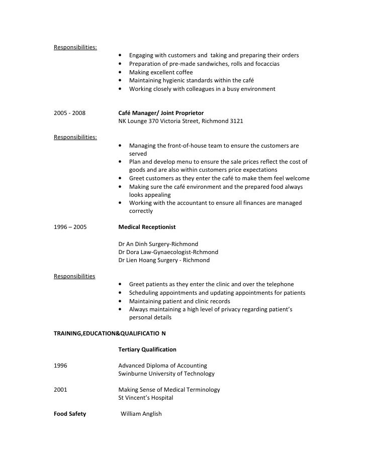 natalie hien dao resume for food service assistantrtf - Food Service Resume
