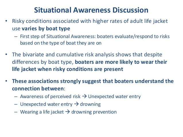 Situational Awareness Discussion • Risky conditions associated with higher rates of adult life jacket use varies by boat t...