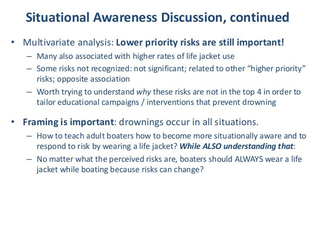 • Multivariate analysis: Lower priority risks are still important! – Many also associated with higher rates of life jacket...