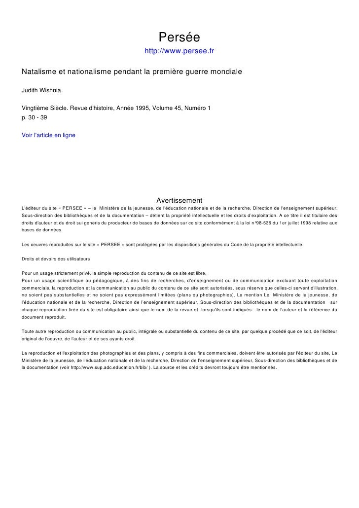 Persée                                                             http://www.persee.fr  Natalisme et nationalisme pendant...