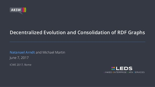 Decentralized Evolution and Consolidation of RDF Graphs Natanael Arndt and Michael Martin June 7, 2017 ICWE 2017, Rome LED...