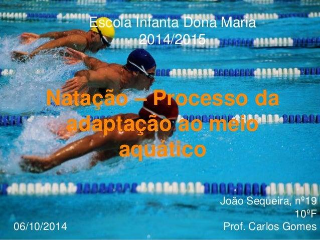 Escola Infanta Dona Maria  2014/2015  Natação – Processo da  adaptação ao meio  aquático  João Sequeira, nº19  10ºF  06/10...