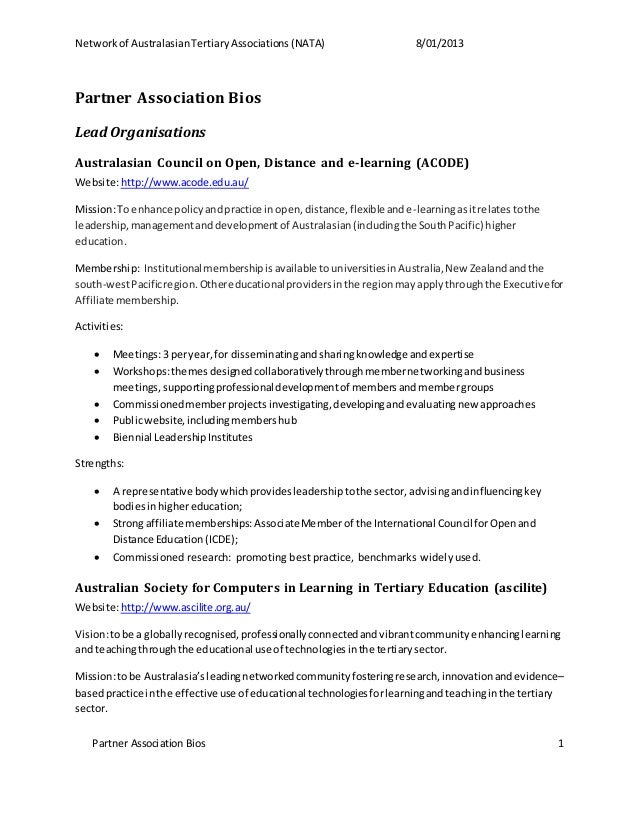 Networkof AustralasianTertiaryAssociations(NATA) 8/01/2013 Partner Association Bios 1 Partner Association Bios Lead Organi...