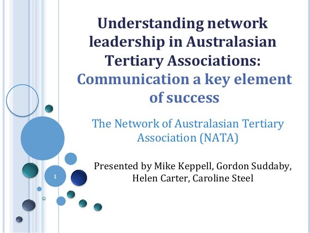 Understanding	   network	    leadership	   in	   Australasian	    Tertiary	   Associations:	    	   Communication	   a	   ...