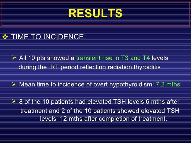 RESULTS <ul><li>TIME TO INCIDENCE:  </li></ul><ul><ul><li>All 10 pts showed a  transient rise in T3 and T4  levels  </li><...