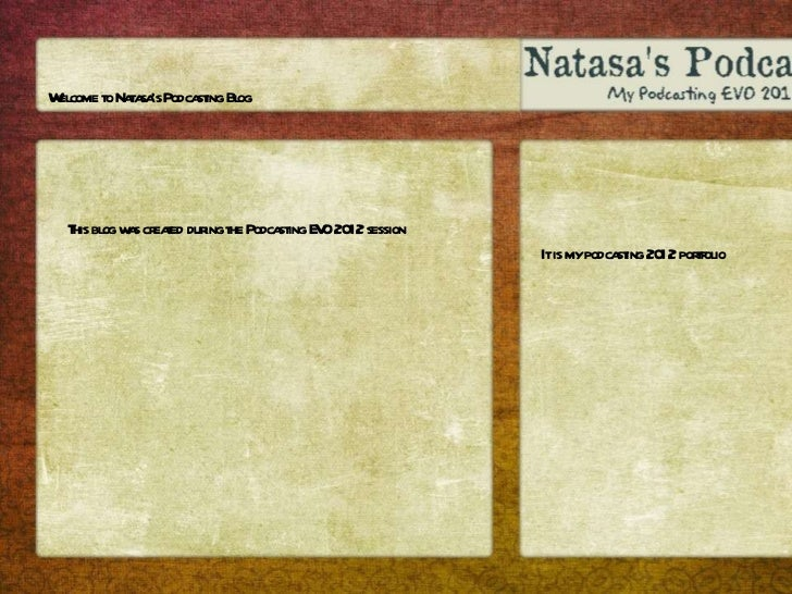 Welcome to Natasa's Podcasting Blog  This blog was created during the Podcasting EVO 2012 session It is my podcasting 2012...