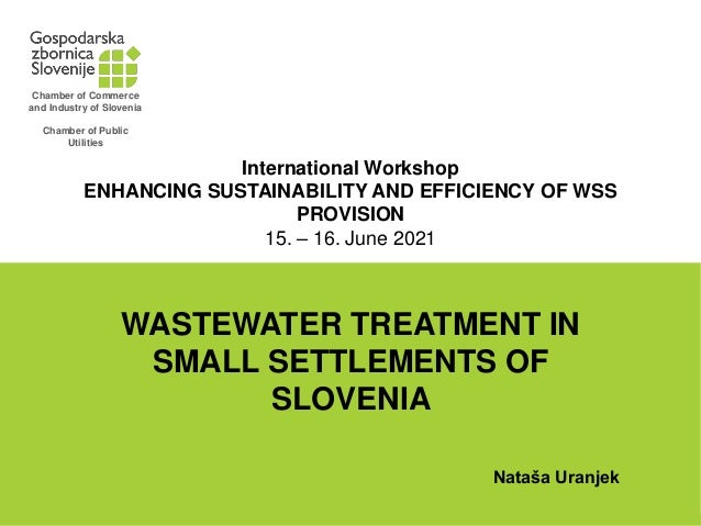 International Workshop ENHANCING SUSTAINABILITY AND EFFICIENCY OF WSS PROVISION 15. – 16. June 2021 WASTEWATER TREATMENT I...