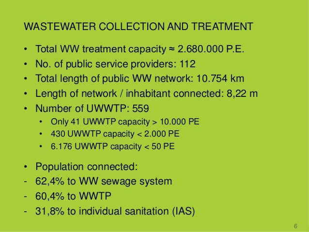 WASTEWATER COLLECTION AND TREATMENT • Total WW treatment capacity ≈ 2.680.000 P.E. • No. of public service providers: 112 ...