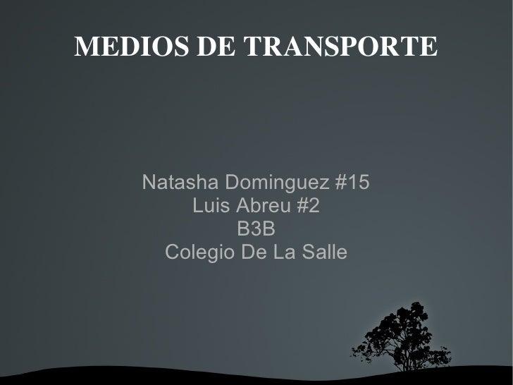 Natasha Dominguez #15 Luis Abreu #2 B3B Colegio De La Salle MEDIOS DE TRANSPORTE