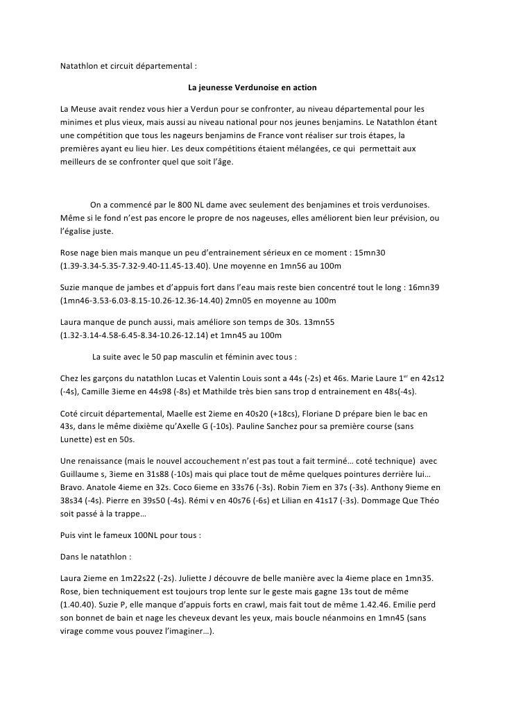 Natathlon et circuit départemental :                                    La jeunesse Verdunoise en action  La Meuse avait r...