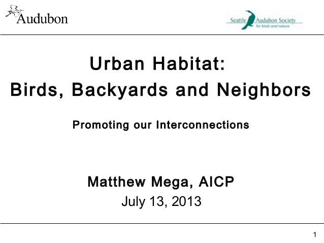 Urban Habitat: Birds, Backyards and Neighbors Promoting our Interconnections  Matthew Mega, AICP July 13, 2013 1