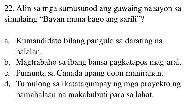 bayan muna bago sarili essay For me i beg to disagree with ted, satur and ka bel dahil para sa akin sarili muna bago bayan why my answer is based in my personal experience.