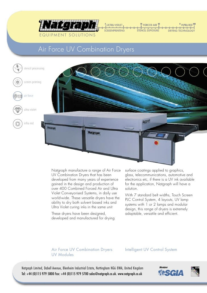 EQUIPMENT SOLUTIONS                   Air Force UV Combination Dryers   stencil processing    screen printing    air force...