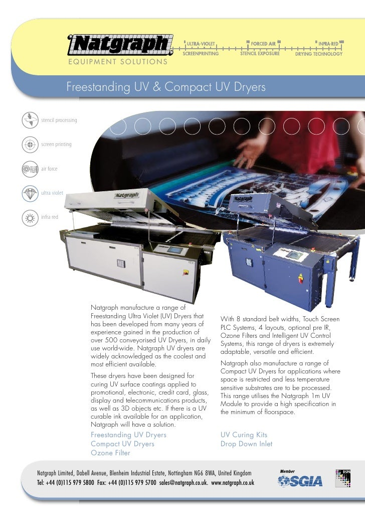 EQUIPMENT SOLUTIONS                   Freestanding UV & Compact UV Dryers   stencil processing    screen printing    air f...