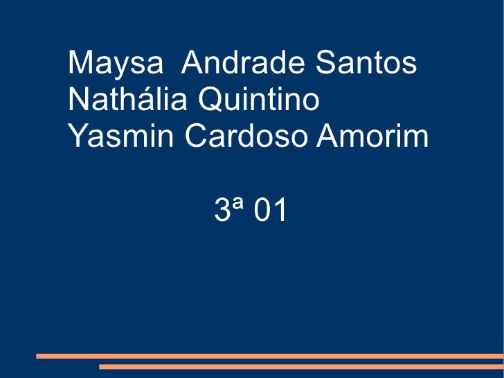 Maysa  Andrade Santos Nathália Quintino Yasmin Cardoso Amorim 3ª 01