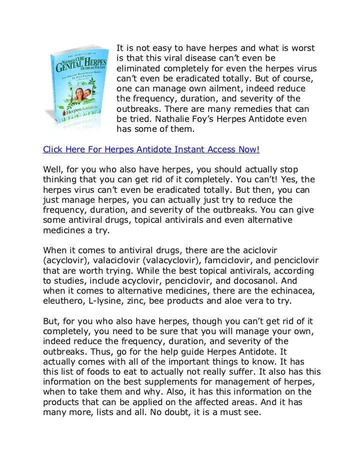 Nathalie Foy Herpes Antidote Review