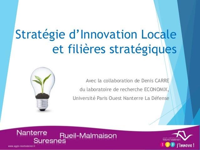 Stratégie d'Innovation Locale et filières stratégiques  Avec la collaboration de Denis CARRE  du laboratoire de recherche ...