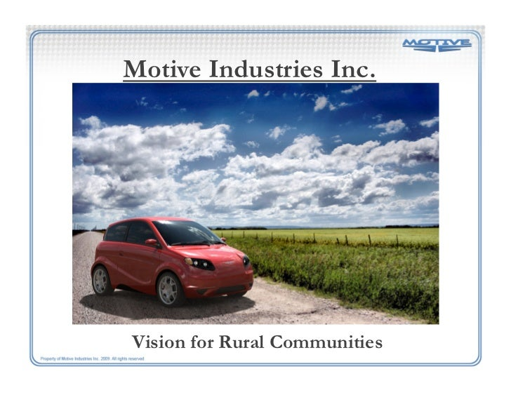Motive Industries Inc.Vision for Rural Communities