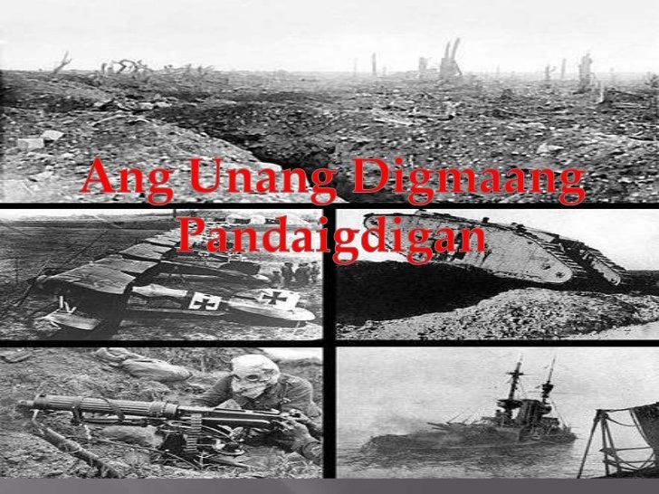 """Ang Unang Digmaang Pandaigdig o Unang Pandaigdigang Digmaan(Ingles:World War I / """"WWI"""" o First World War)         Ay isang..."""