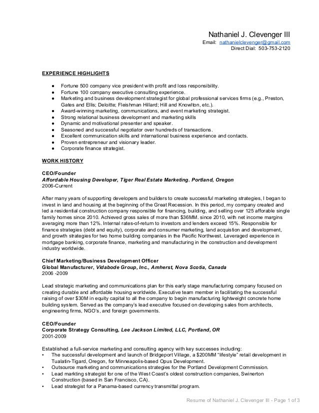 nathaniel clevenger business development resume