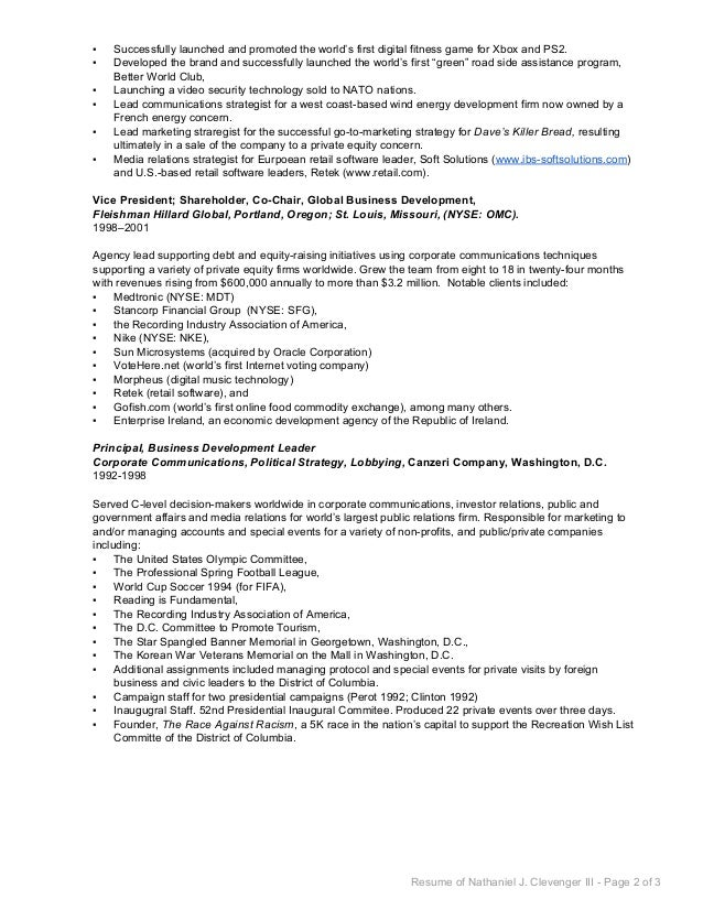 nathaniel clevenger business development resume