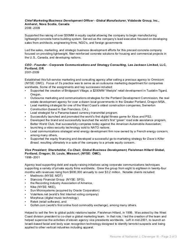 resume of nathaniel j clevenger iii page 1 of 3 2 chief marketingbusiness development officer - Housing Development Officer Sample Resume