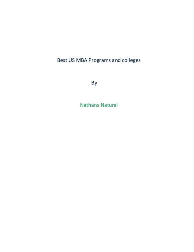 Best US MBA Programs and colleges By Nathans Natural