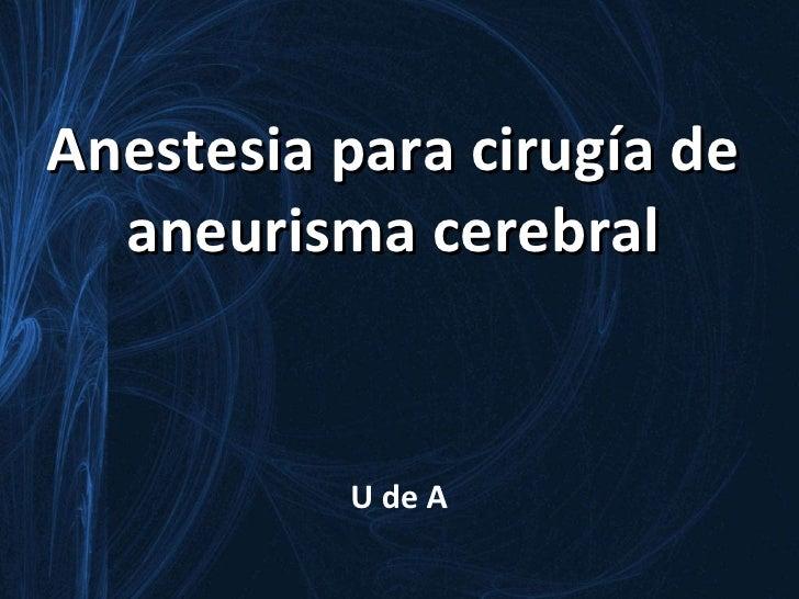 aneusrisma cerebral